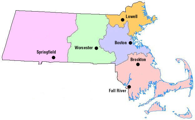 Massachusetts Map EOHHS Regions